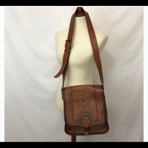Patricia Nash Leather Saddle Bag with dust bag